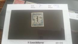 LOT 217594 TIMBRE DE COLONIE COTE IVOIRE OBLITERE N�7 VALEUR 21 EUROS