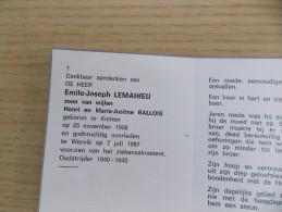 Doodsprentje Emile Joseph Lemahieu Komen 25/11/1908 Wervik 7/7/1987 ( Z.v. Henri En Marie Justine Ballois ) - Religione & Esoterismo