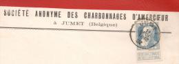 N� 76 /  Enveloppe de JUMET  Charbonnages d '  Amercoeur vers  MUNCHEN 11 dec. 1907