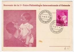 BELGIUM USED POST CARD 14/08/1937 COB 447 OOSTENDE FOIRE PHILATHELIQUE - Belgique