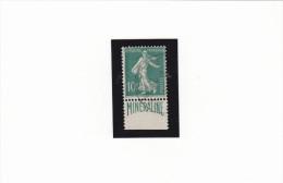 N� 188A MINERALINE 10c Vert Publicitimbre  Oblit�r� du 21/11/1926 Haute Garonne sur bande inf�rieure TTB