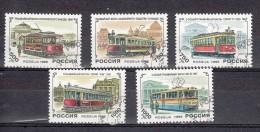 Trein, Train, Locomotive, Eisenbahn Russia 1996 Mi Nr 493-497 Tram - Trains