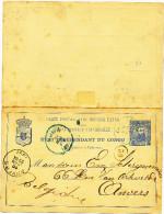 555/22 - Entier Postal CONGO BELGE LEOPOLDVILLE 1897 vers ANVERS - TB Texte Origine STANLEY FALLS