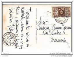 dante alighieri  c.  30 isolato alassio cartolina  x cremona + timbrino postale