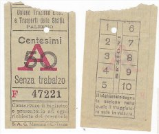 Biglietto Tramviario Palermo Anni 30 Tram Tramway Tramvia Tranvia Ticket