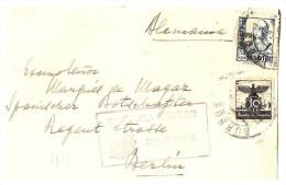 LMM12 - ESPAGNE CENSURA MILITAR BURGOS SUR FRAGMENT (1937?) - Marcas De Censura Nacional