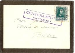LMM12 - ESPAGNE CENSURA MILITAR FUENTARRABIA SUR FRAGMENT (DATE?) - Marcas De Censura Nacional