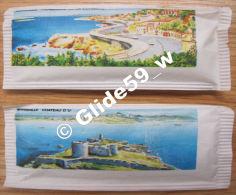 2 Sachets Pleins Raffinerie De Sucre G. Giraudon & Fils - Marseille - MARSEILLE Promenade De La Corniche Et Château - Suiker