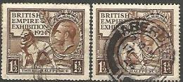 GRANDE-BRETAGNE  N� 172 ET 174 / MILLESIME 1924 ET 1925 OBL TB