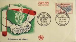 ENVELOPPE 1er JOUR 1959 - Donneurs De Sang - Paris Le 17 Oct. 1959 - - FDC