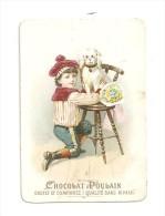 Chromo Chocolat Poulain Jeune Garçon Accroupi Auprès D'une Chien Assis Sur Une Chaise - Poulain