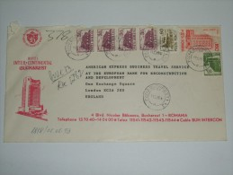 ROMANIA 1993 COVER INTERCONTINENTAL HOTEL BUCHAREST TO LONDON - Lettres & Documents