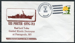 1996 USA Navy Pascagoula Keel Laid Ship Cover USS PORTER DDG 78 Guided Missile Destroyer - United States