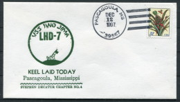 1997 USA Navy Pascagoula Keel Laid Ship Cover USS IWO JIMA LHD 7 - United States