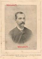 Ufficiale diplomatico Cesare Nerazzini (Montepulciano Siena 1849-1912) - Incisione da una rivista rovinata del 1896