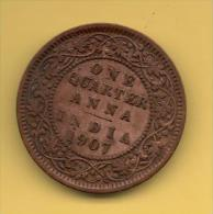 INDIA-BRITISH,   Quarter Anna 1907 Bronze Coin (EDWARD VII) - India