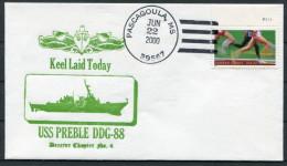 2000 US Navy Pascagoula Keel Laid Ship Cover USS PREBLE DDG 88 - United States