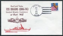 1996 US Navy Bath Maine Keel Laid Ship Cover USS HIGGINS DDG 76 - United States