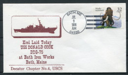 1996 US Navy Bath Maine Keel Laid Ship Cover USS DONALD COOK DDG 75 - United States