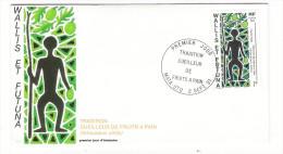 WALLIS Et FUTUNA / TAHITI / POLYNESIE FRANCAISE / TRADITION : CUEILLEUR DE FRUITS à PAIN / Timbre De 7 F. En 1991 - FDC