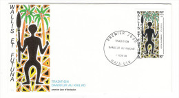 WALLIS Et FUTUNA / TAHITI / POLYNESIE FRANCAISE / TRADITION : DANSEUR AU KAÏLAO / Timbre De 90 F. En 1991 - FDC