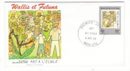 WALLIS Et FUTUNA / TAHITI / POLYNESIE FRANCAISE / ART à L' ECOLE / M. HAKULA , COLLÈGE DE LANO / Timbre De 52 F. En 1993 - FDC
