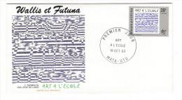 WALLIS Et FUTUNA / TAHITI / POLYNESIE FRANCAISE / ART à L' ECOLE / T.TUHIMUTU, COLLÈGE DE LANO / Timbre De 28 F. En 1993 - FDC
