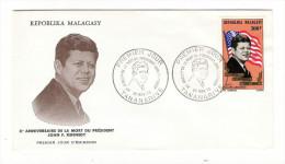 MADAGASCAR / 10ème Anniversaire De La Mort Du Président JOHN F. KENNEDY /  Timbre Poste Aérienne De 300 F. En 1973
