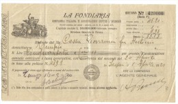La Fondiaria Campagna Italiana Di Assicurazioni Contro L'incendio 1920 Doc.026 - Actions & Titres