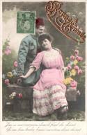 CARTE DE BONNE ANNEE COUPLE ZOUAVE ET SA BELLE LETTRES DOREES COLLEES CIRCULEE 1911 - Nouvel An