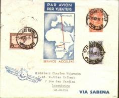 LP17 + Stanley 136 en 137 on airmail letter to Luxemburg !! Elisabethville - Bruxelles 1936.