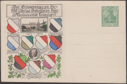 Allemagne 1909. Entier Postal TSC. 500ième Anniversaire De L'université De Leipzig. Armoiries Des Associations étudiants - Enveloppes