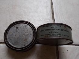 Lot De 2 Boites US Impregnite Shoes M1 Diamètre 11 Cm Hauteur 4 Cm - 1939-45