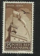 SAN MARINO 1944 PALAZZETTO DEL GOVERNO LIRE 25 AEREA MNH