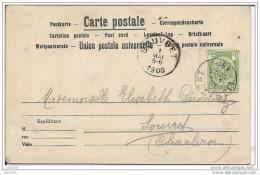 SOUVRET ..- LIBRAMONT ..-- DVD 10810 . Attelage De Chiens. 1906 Vers SOUVRET ( Melle Elisabeth GERONNEZ ) . Voir Verso . - Courcelles