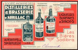 CPA - 15 - AURILLAC - AVIS DE PASSAGE Pub. Distilleries & Brasserie D´AURILLAC  - 366 - Aurillac