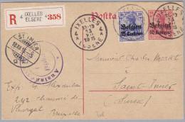 Belgien 1916-I-21 IXELLES R-Ganzsche Germania Mit Aufdruck Nach St. Imier CH - WW I