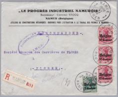 Belgien 1916-III-28 NAMUR R-Brief Nach Florze (Progrès Industriel Construction Mécanique Travail Des Pierres) - WW I