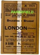 Billet d'aller-retour 3�me classe BRUXELLES-BRUSSEL/ LONDON (VICTORIA) via OOSTENDE-DOVER 1947 -Reste le coupon enfant