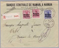 Belgien 191?-V-7 NAMUR Bank R-Brief Nach Braine Le Comte - WW I