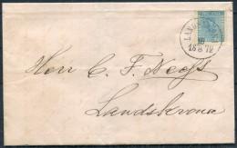 1872 Sweden Ortsbrief Landskrona - 12 Ore Vapen Coat Of Arms
