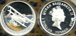 TUVALU $1 AIRPLANE FOKKER Dr.1 COLOURED FRONT QEII BACK 2005 SILVER PROOF READ DESCRIPTION CAREFULLY !!! - Tuvalu