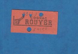 Ticket ancien de M�tropolitain rouge  - PARIS - Publicit� Cognac Rouyer