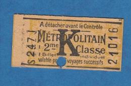 Ticket ancien de M�tropolitain jaune  - PARIS - 2eme classe - Publicit� Cognac Rouyer - m�tro