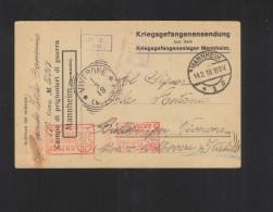 Kriegsgefangenenlager Mannhein PK 1918 Nach Italien Italia Zensur - Deutschland