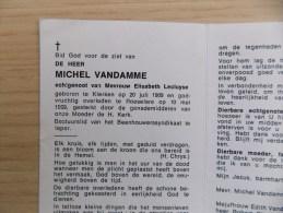 Doodsprentje Michel Vandamme Klerken 20/7/1909 Roeselare 10/5/1969 ( Elisabeth Lecluyse ) - Religione & Esoterismo