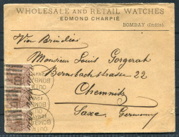 1881 India Bombay Watch Dealer Edmond Charpie Cover - Chemnitz, Germany Sea Post Office Paquebot - 1882-1901 Imperio