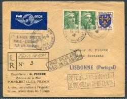 1946 Paris - Lisbon Portugal Air France Pornichet First Flight Cover - Lisboa - Airmail