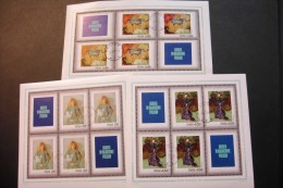 Poland Paintings Girl Flowers Nude Strange Garden Woman Sheet Of 4 + Labels Cancelled 1971 A04s - Blocks & Sheetlets & Panes