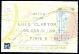 Concert D´ERIC CLAPTON Au POPB Le 20 Mars 2001 - Tickets De Concerts